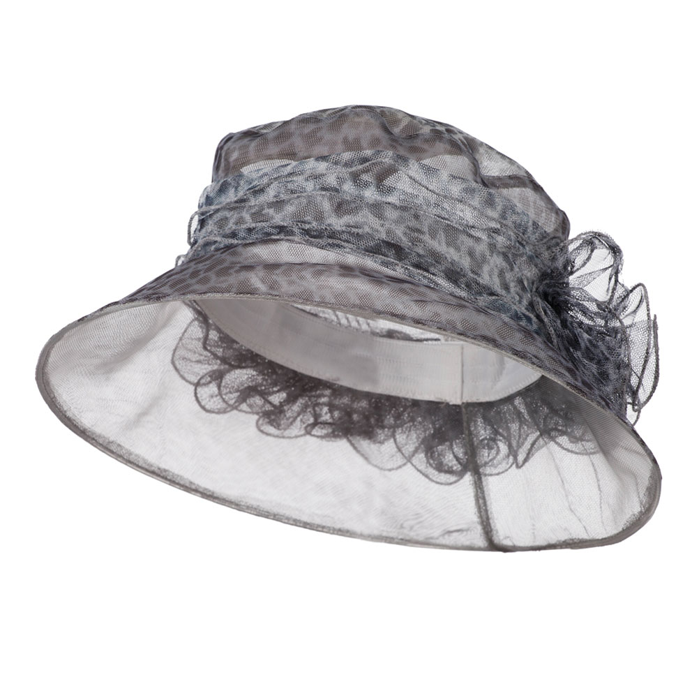 Leopard Print Ruffle Flower Organza Hat - Grey - Hats and Caps Online Shop - Hip Head Gear