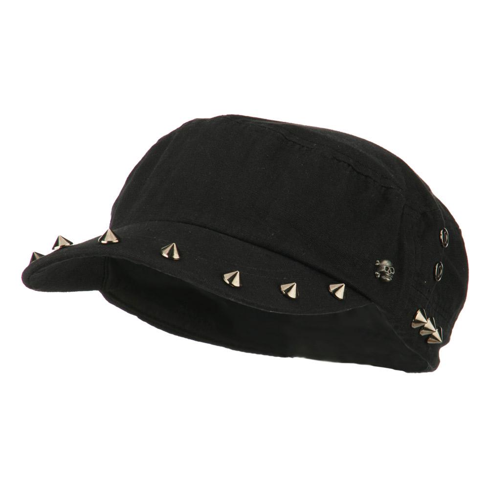 Skull and Spike Army Cadet Fitted Cap - Black - Hats and Caps Online Shop - Hip Head Gear
