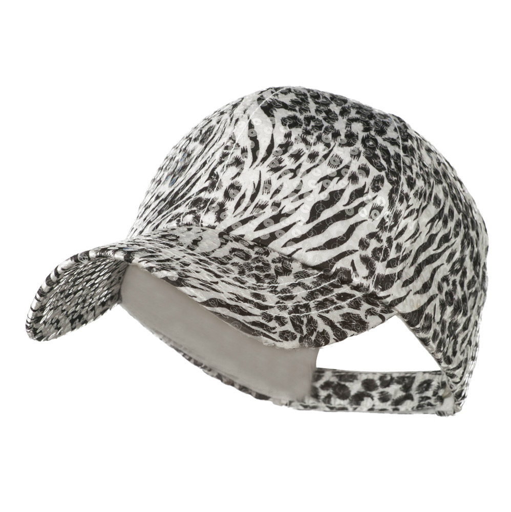 Animal Print and Sequin Cap - White - Hats and Caps Online Shop - Hip Head Gear