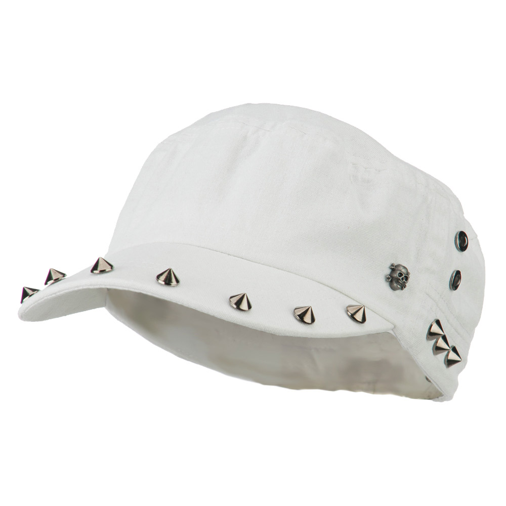 Skull and Spike Army Cadet Fitted Cap - White - Hats and Caps Online Shop - Hip Head Gear