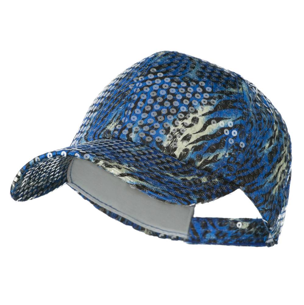 Animal Print and Sequin Cap - Blue - Hats and Caps Online Shop - Hip Head Gear