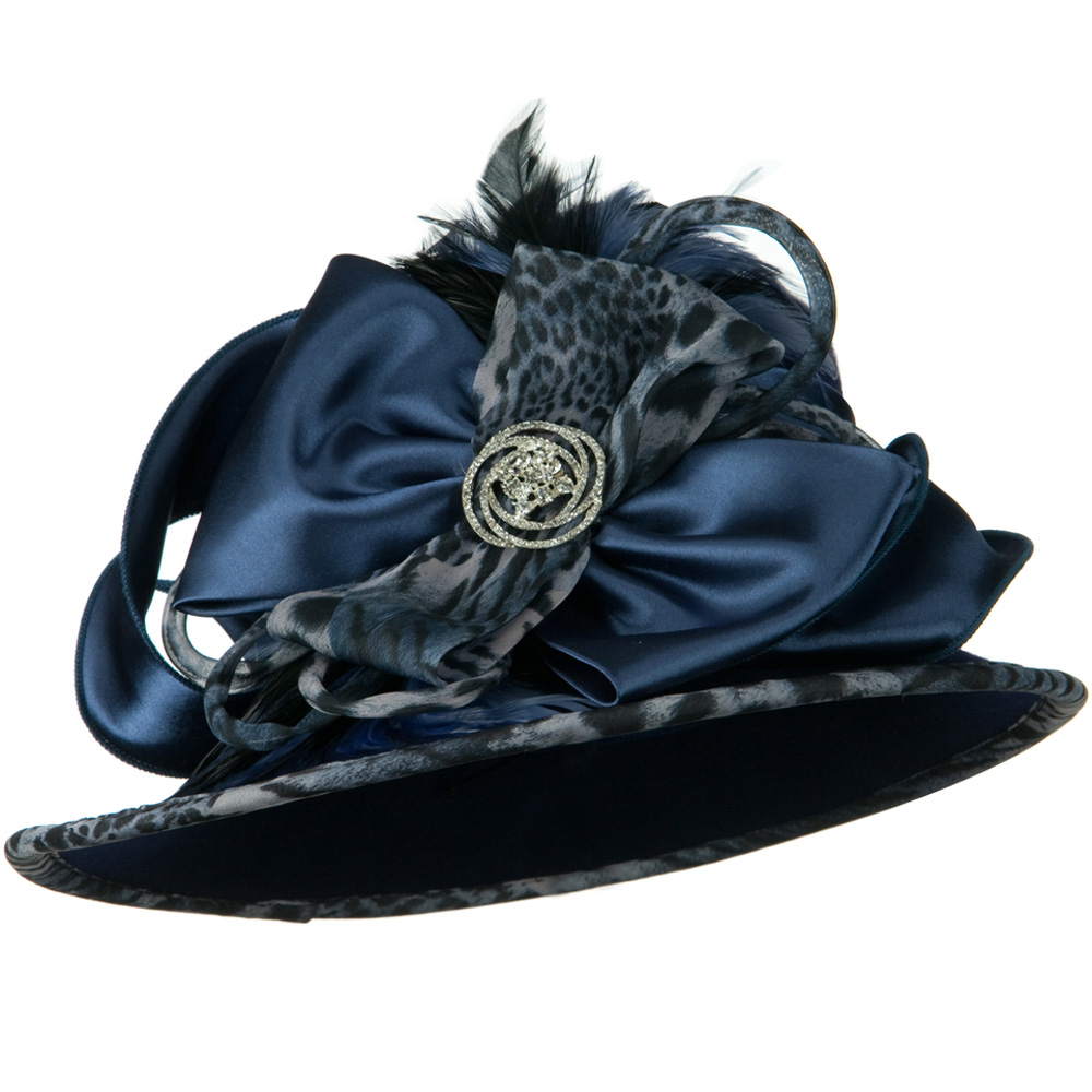 Animal Satin Wool Felt Hat - Navy - Hats and Caps Online Shop - Hip Head Gear