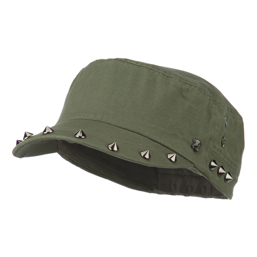 Skull and Spike Army Cadet Fitted Cap - Olive - Hats and Caps Online Shop - Hip Head Gear
