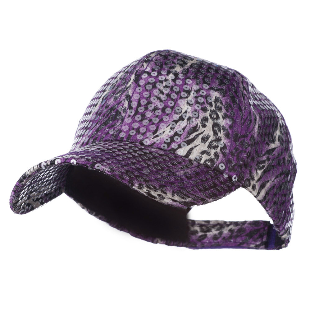 Animal Print and Sequin Cap - Purple - Hats and Caps Online Shop - Hip Head Gear