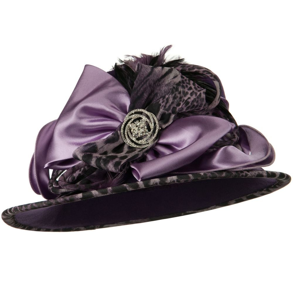 Animal Satin Wool Felt Hat - Plum - Hats and Caps Online Shop - Hip Head Gear