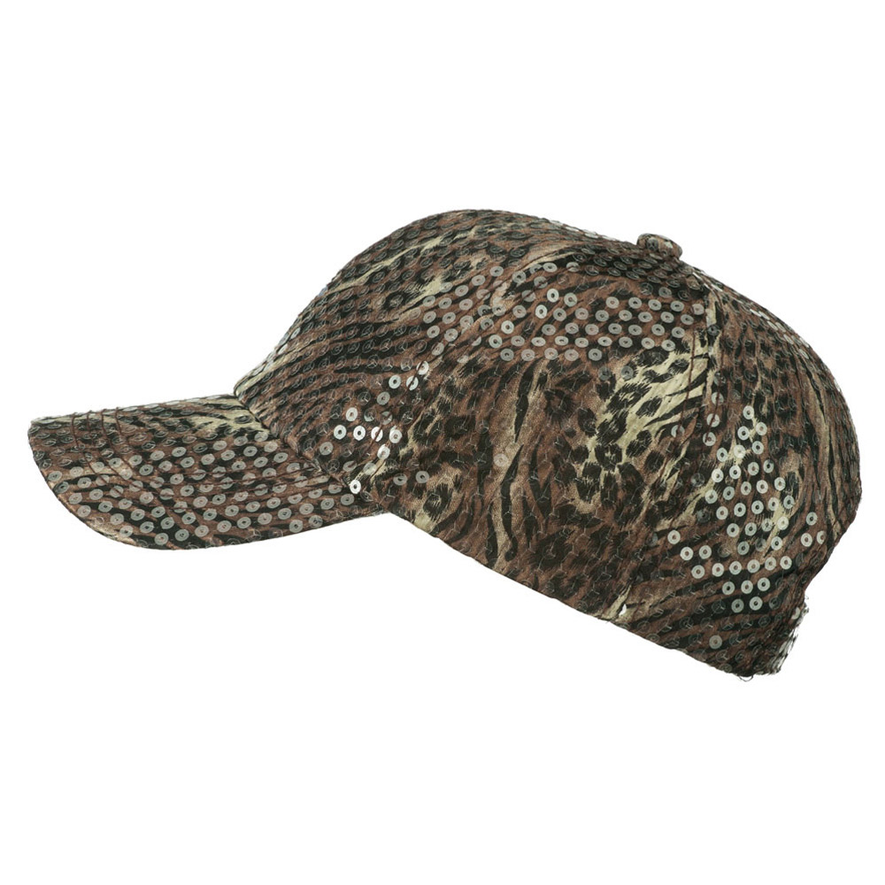 Animal Print and Sequin Cap - Brown - Hats and Caps Online Shop - Hip Head Gear