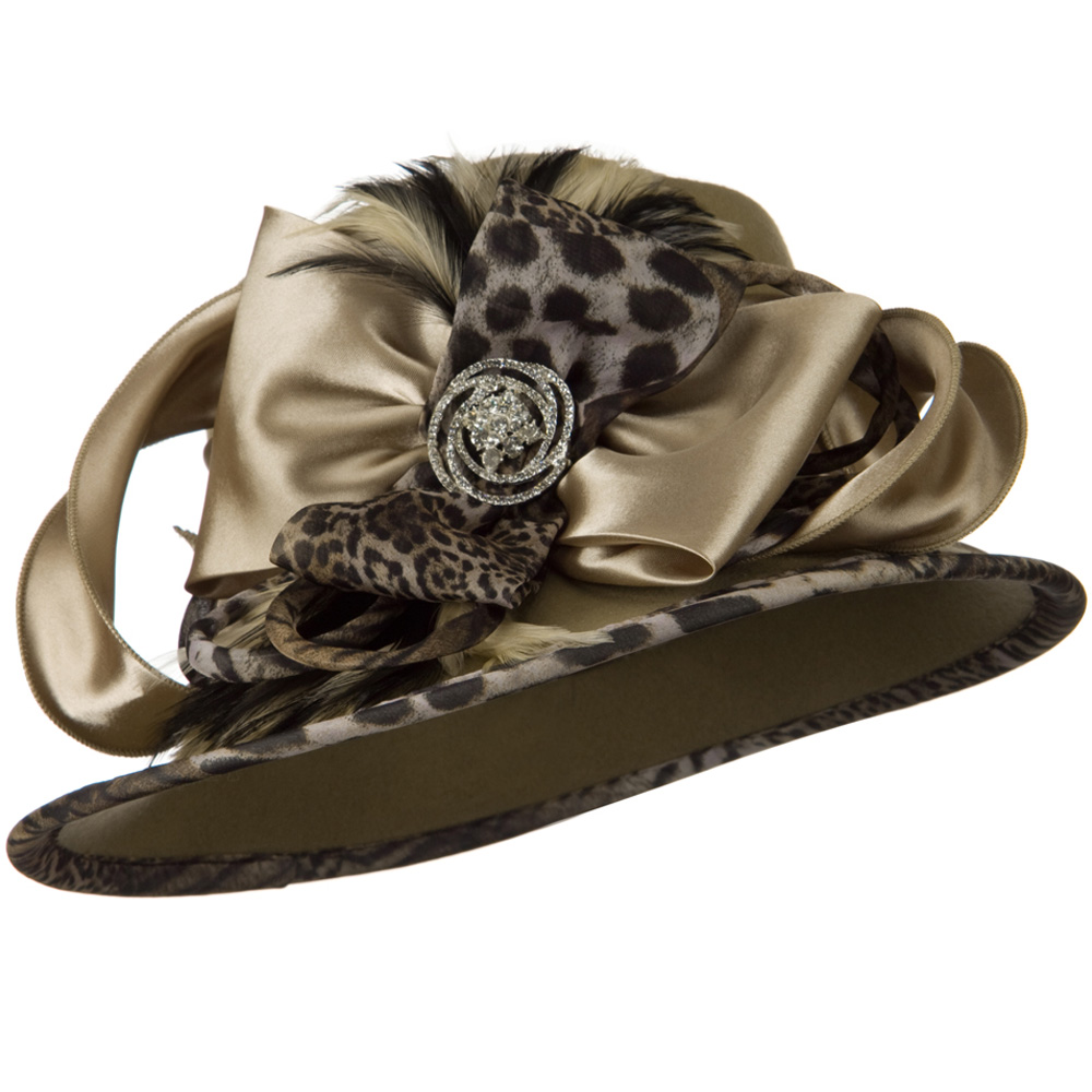 Animal Satin Wool Felt Hat - Taupe - Hats and Caps Online Shop - Hip Head Gear