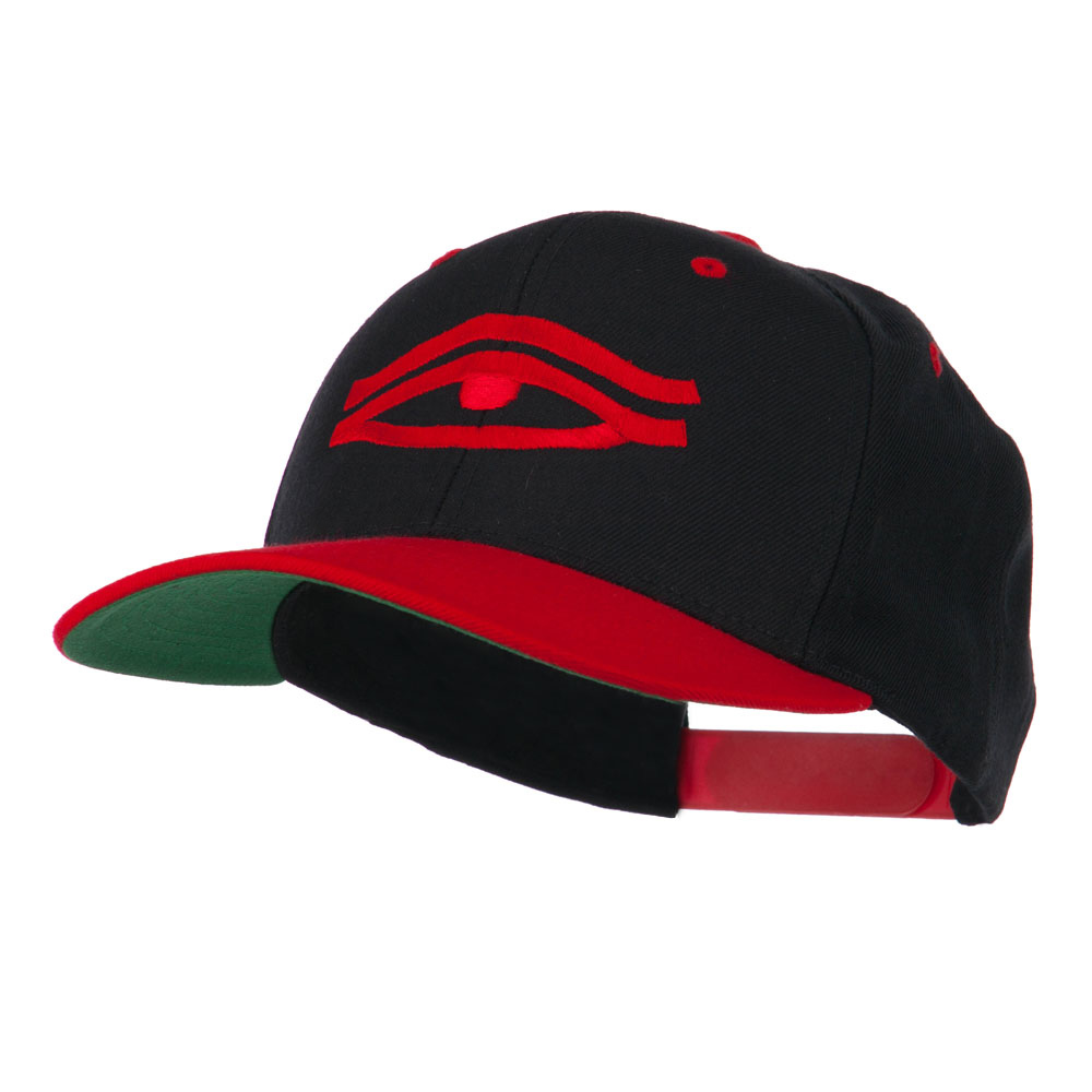 All Seeing Eye Embroidered Flat Bill Cap - Black Red - Hats and Caps Online Shop - Hip Head Gear