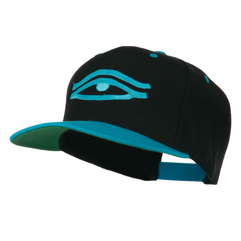 All Seeing Eye Embroidered Flat Bill Cap - Black Teal - Hats and Caps Online Shop - Hip Head Gear