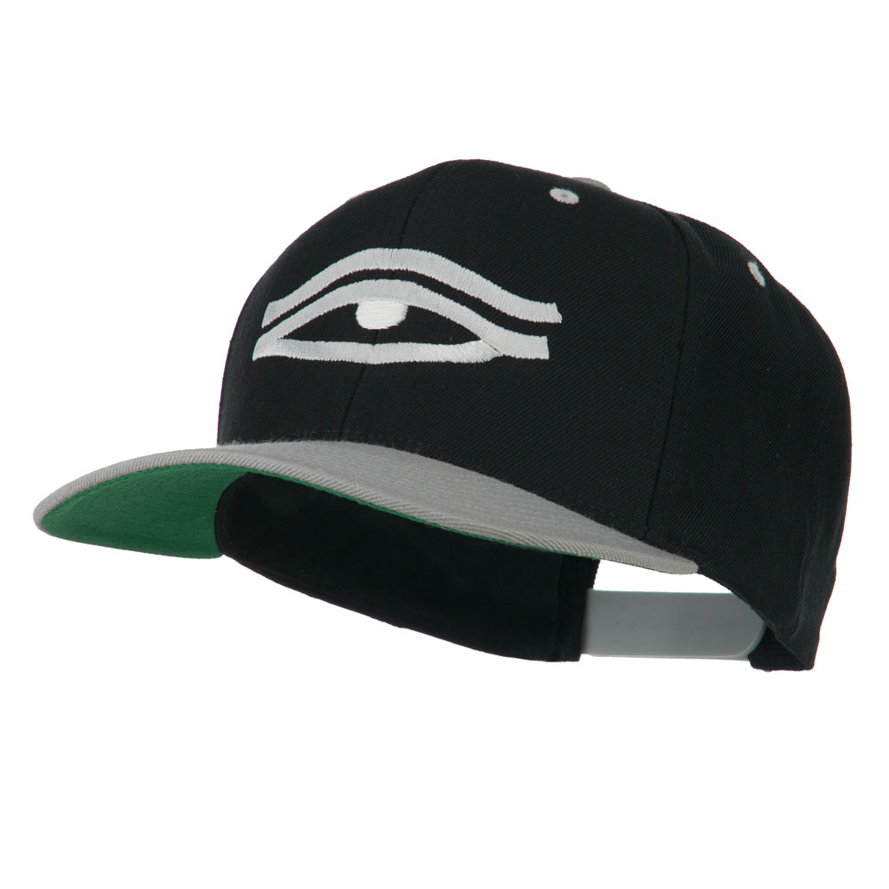 All Seeing Eye Embroidered Flat Bill Cap - Black Silver - Hats and Caps Online Shop - Hip Head Gear