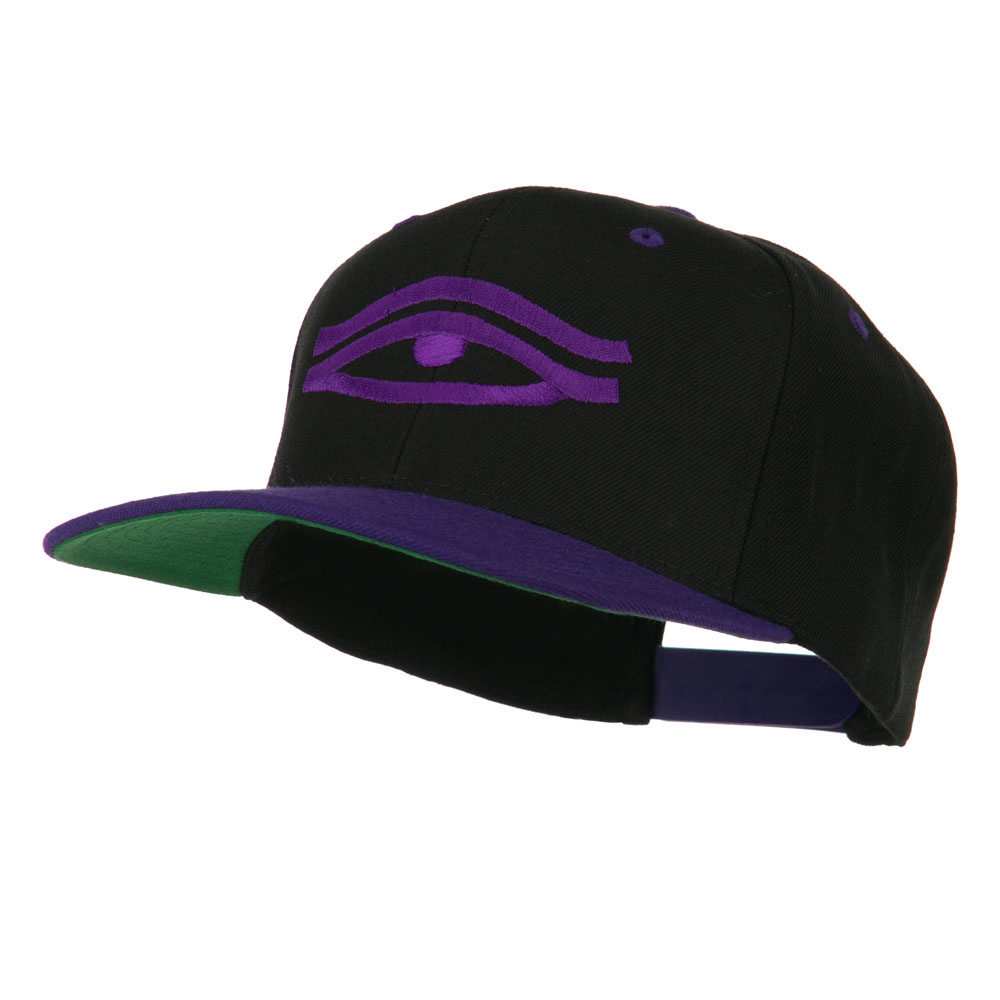 All Seeing Eye Embroidered Flat Bill Cap - Black Purple - Hats and Caps Online Shop - Hip Head Gear