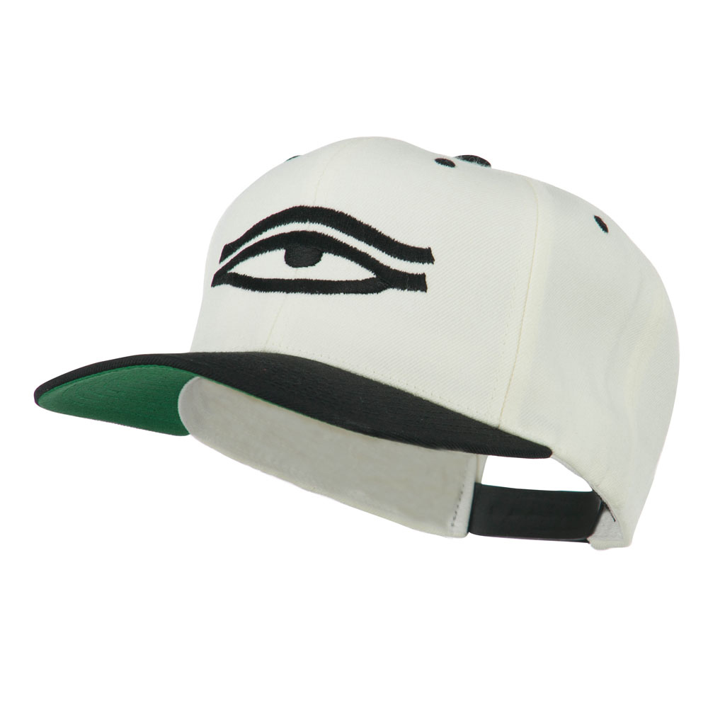 All Seeing Eye Embroidered Flat Bill Cap - Natural Black - Hats and Caps Online Shop - Hip Head Gear