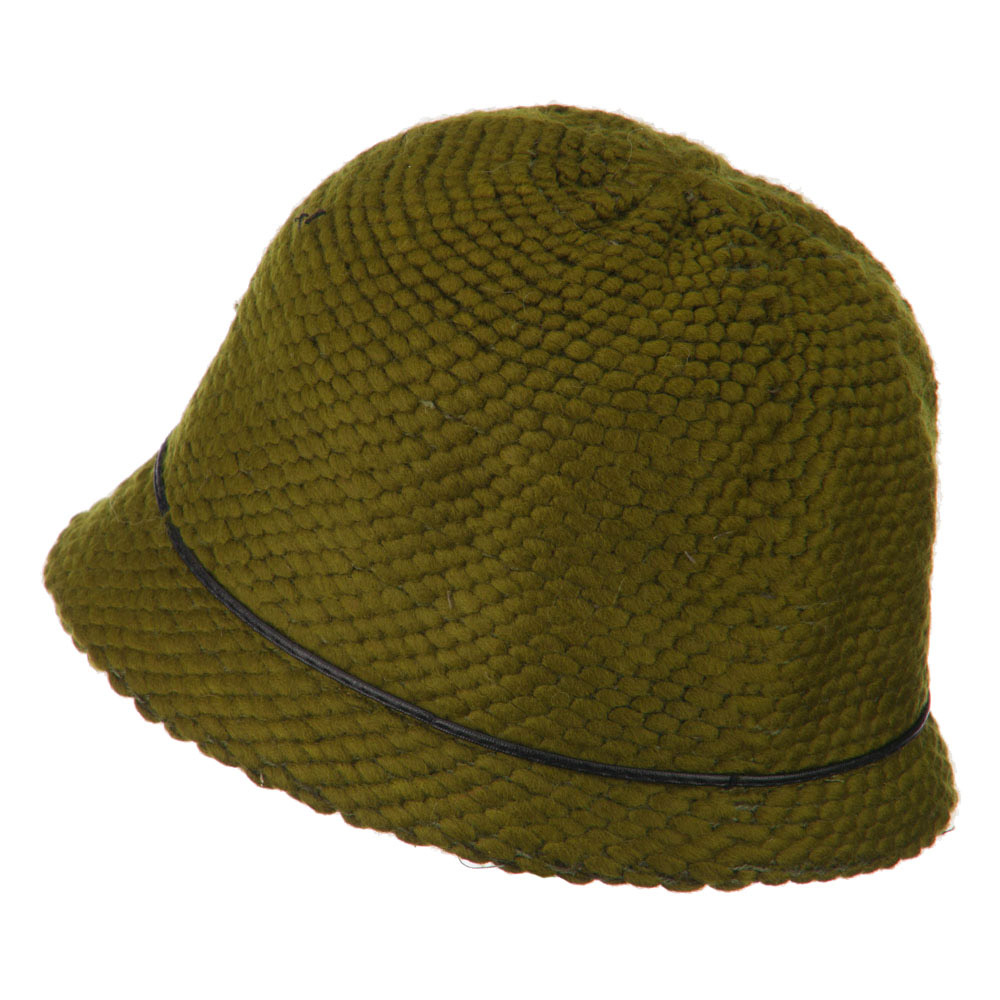 Cloche Acrylic Blend Bucket Shape Hat - Olive - Hats and Caps Online Shop - Hip Head Gear