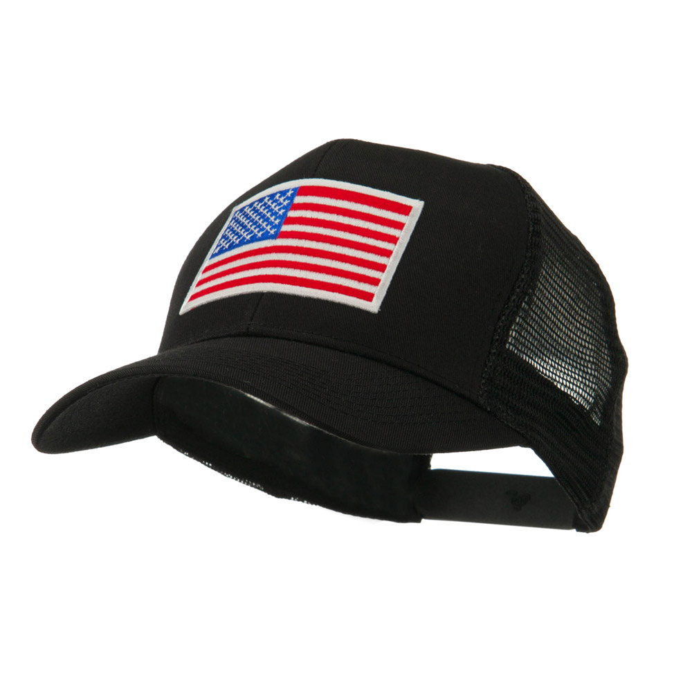6 Panel Mesh American Flag White Patch Cap - Black - Hats and Caps Online Shop - Hip Head Gear