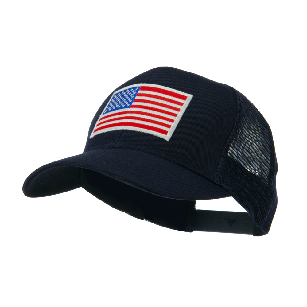 6 Panel Mesh American Flag White Patch Cap - Navy - Hats and Caps Online Shop - Hip Head Gear