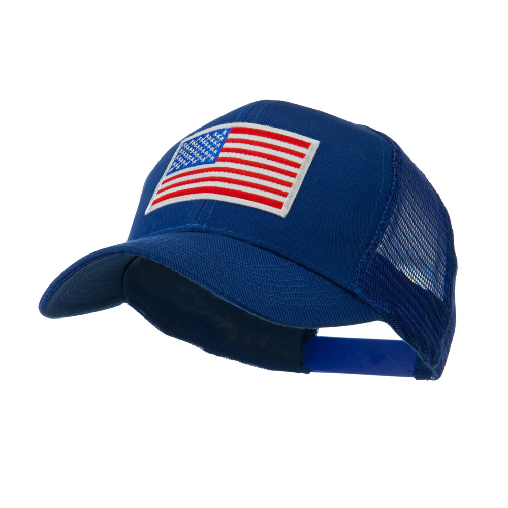 6 Panel Mesh American Flag White Patch Cap - Royal - Hats and Caps Online Shop - Hip Head Gear