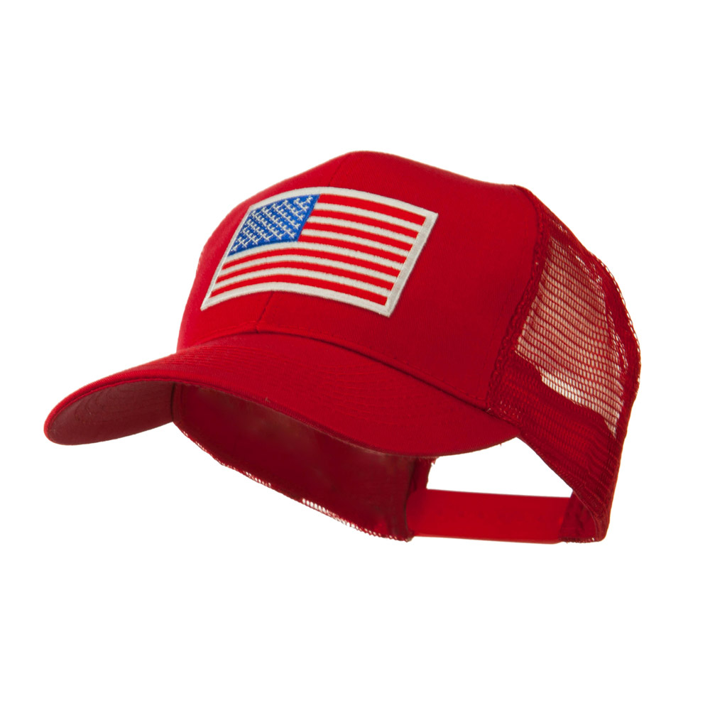 6 Panel Mesh American Flag White Patch Cap - Red - Hats and Caps Online Shop - Hip Head Gear