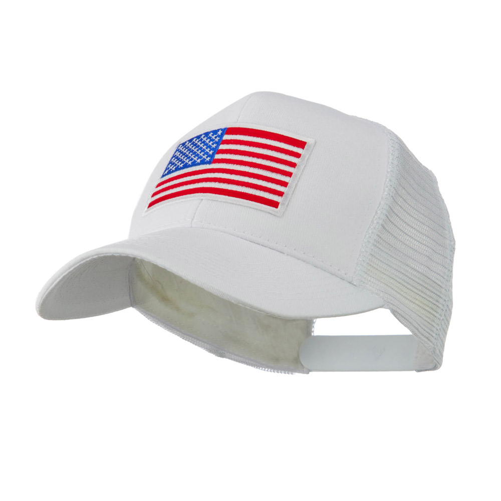 6 Panel Mesh American Flag White Patch Cap - White - Hats and Caps Online Shop - Hip Head Gear