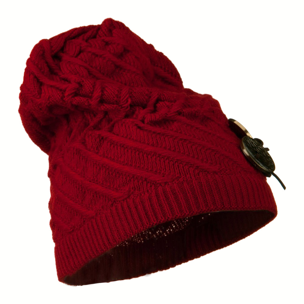 Two Large Button Accent Beanie - Red