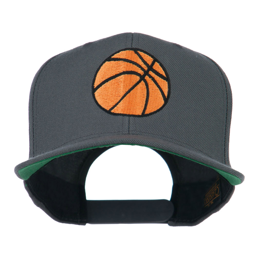 Basketball Embroidered Flat Bill Cap - Grey - Hats and Caps Online Shop - Hip Head Gear