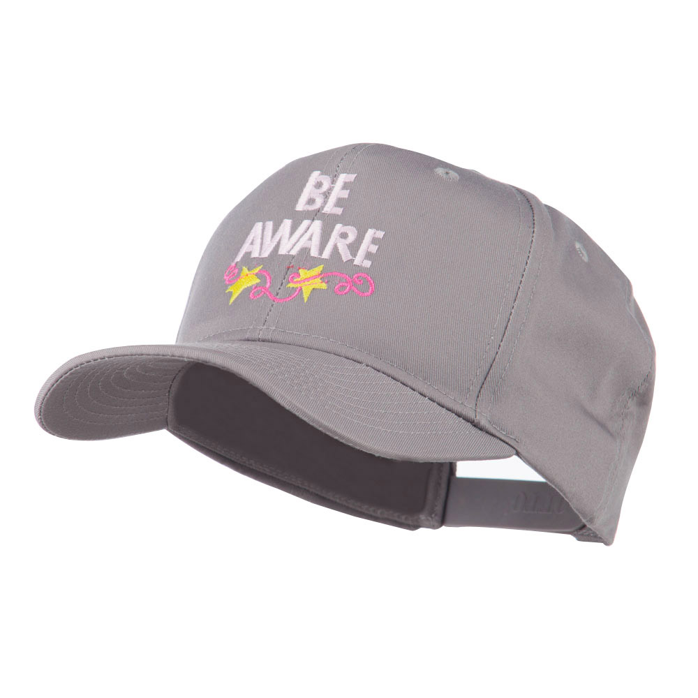 Be Aware Cancer Awareness Embroidered Cap - Grey - Hats and Caps Online Shop - Hip Head Gear