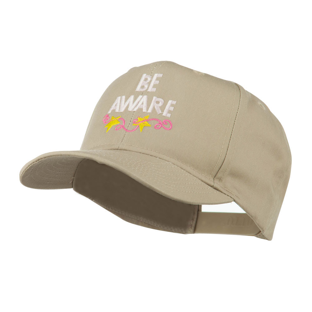 Be Aware Cancer Awareness Embroidered Cap - Khaki - Hats and Caps Online Shop - Hip Head Gear