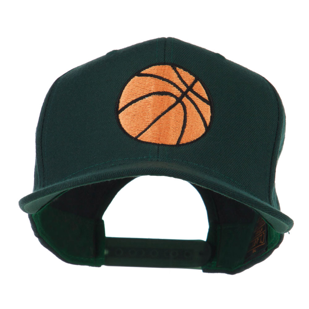 Basketball Embroidered Flat Bill Cap - Spruce - Hats and Caps Online Shop - Hip Head Gear