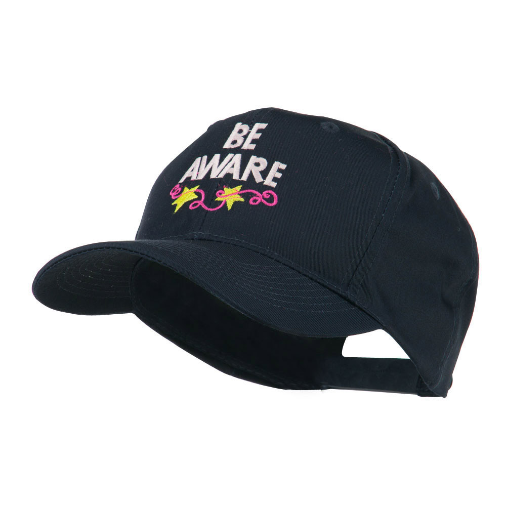 Be Aware Cancer Awareness Embroidered Cap - Navy - Hats and Caps Online Shop - Hip Head Gear