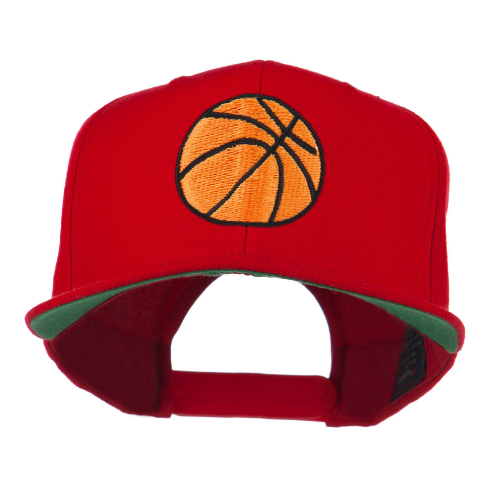 Basketball Embroidered Flat Bill Cap - Red - Hats and Caps Online Shop - Hip Head Gear