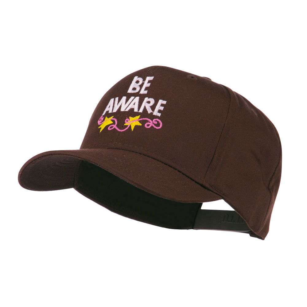 Be Aware Cancer Awareness Embroidered Cap - Brown - Hats and Caps Online Shop - Hip Head Gear
