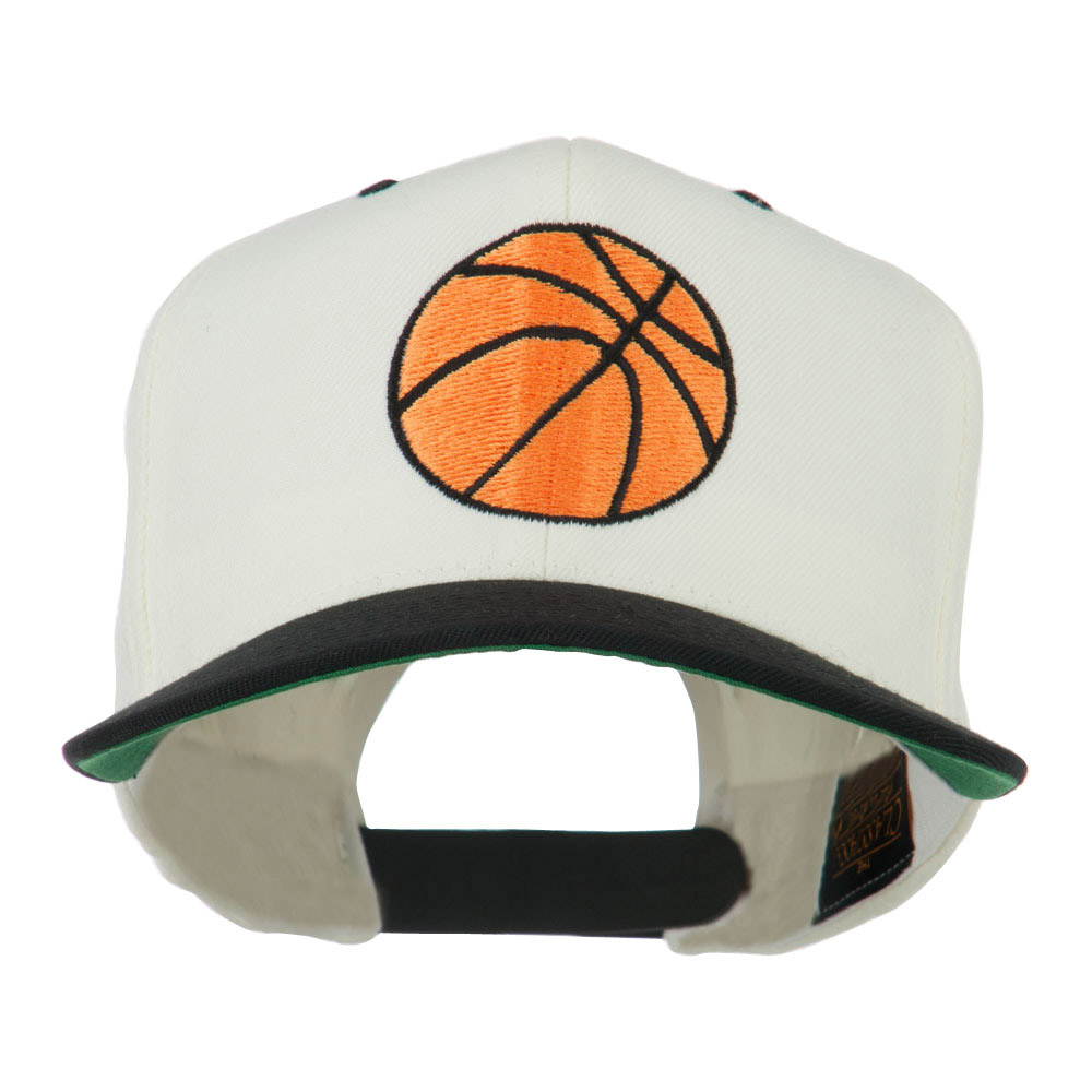 Basketball Embroidered Flat Bill Cap - Natural Black - Hats and Caps Online Shop - Hip Head Gear