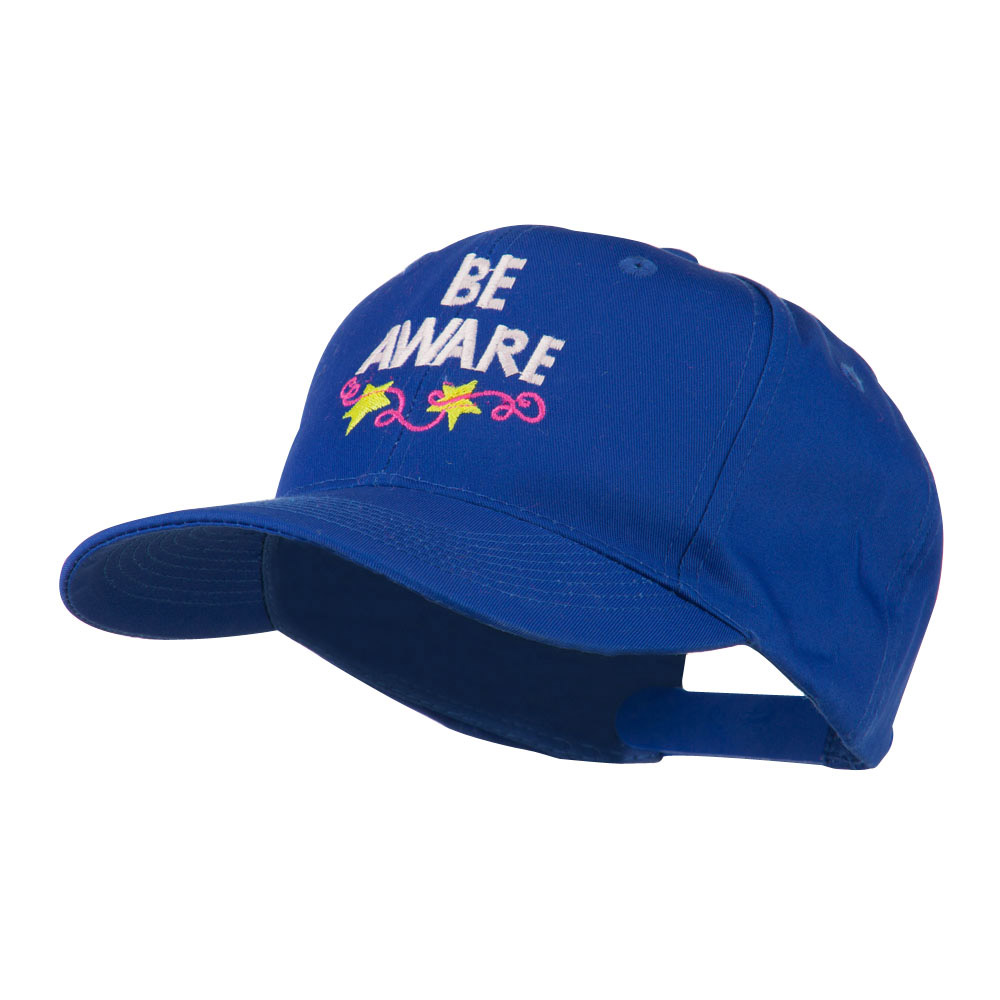 Be Aware Cancer Awareness Embroidered Cap - Royal - Hats and Caps Online Shop - Hip Head Gear