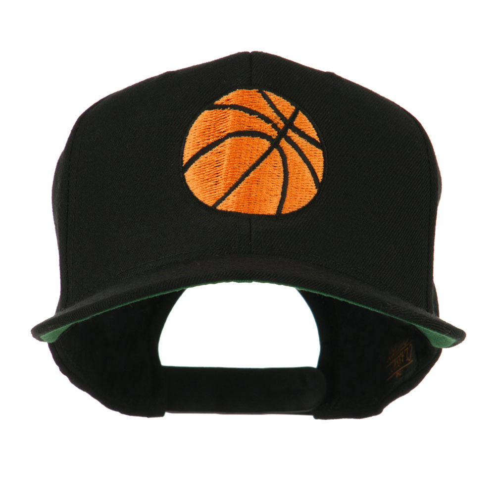 Basketball Embroidered Flat Bill Cap - Black - Hats and Caps Online Shop - Hip Head Gear