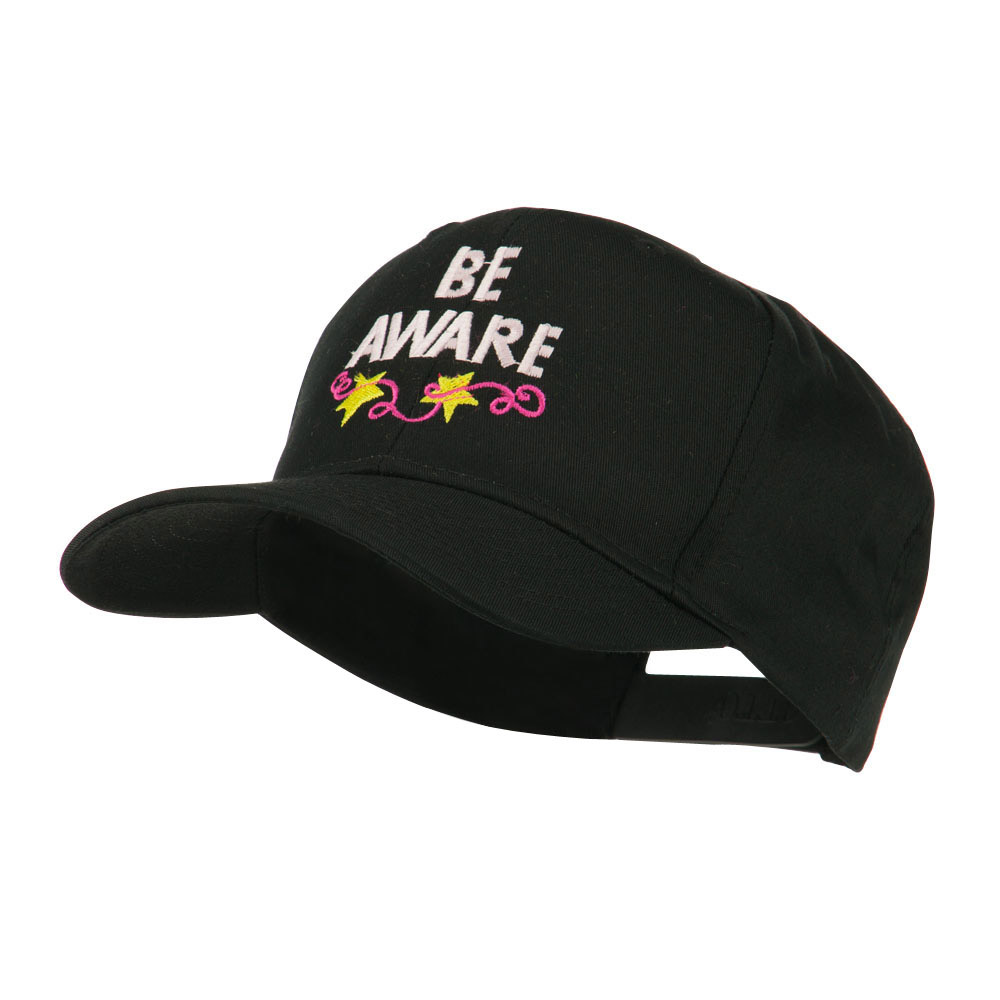 Be Aware Cancer Awareness Embroidered Cap - Black - Hats and Caps Online Shop - Hip Head Gear