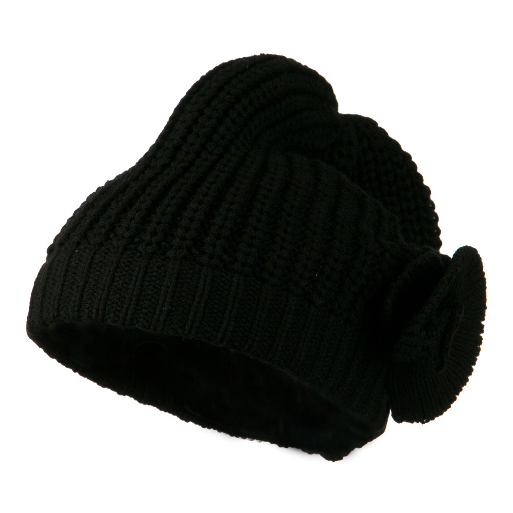 Big Crown Crocheted Bow Beanie - Black - Hats and Caps Online Shop - Hip Head Gear