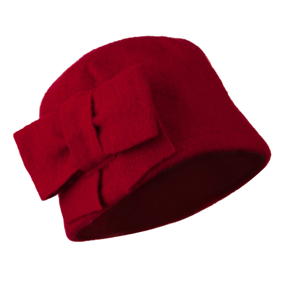 Woman's Bow Accent Boiled Wool Cloche Hat - Red - Hats and Caps Online Shop - Hip Head Gear
