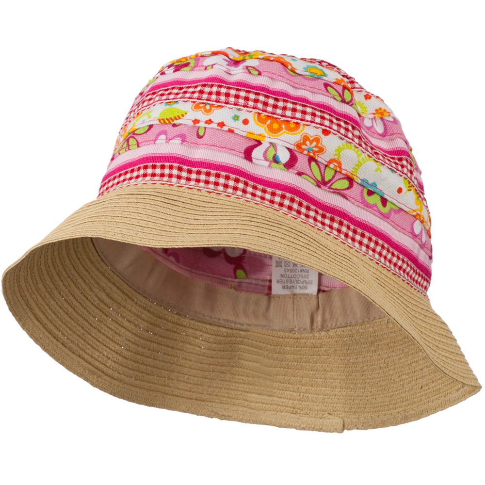 Girl's Bucket Hat with Paper Braid Edge - Pink Red - Hats and Caps Online Shop - Hip Head Gear