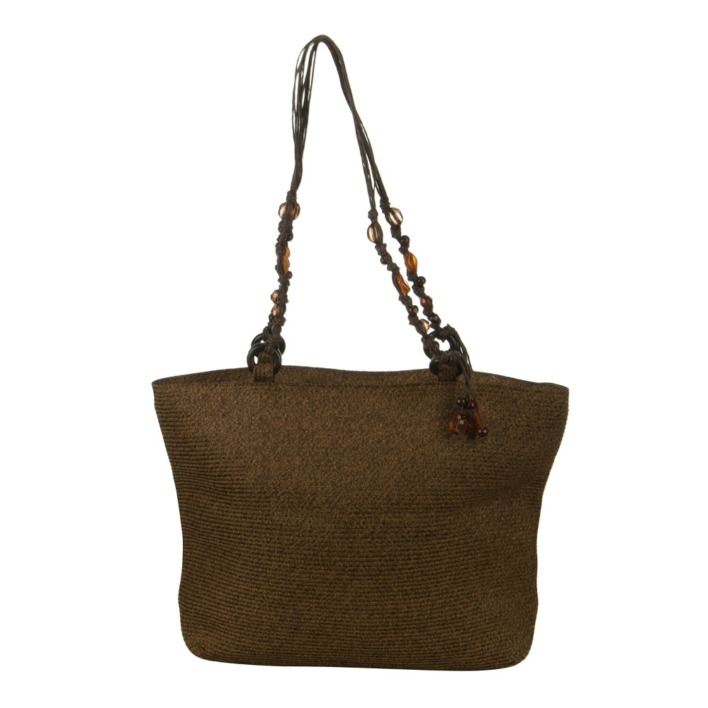 Paper Braid Bead Accent Handbag - Brown