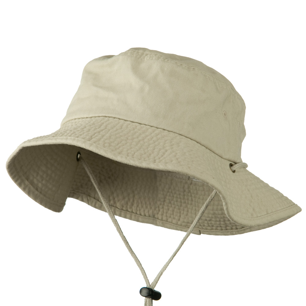 Big Size Washed Bucket Hat with Chin Cord - Putty - Hats and Caps Online Shop - Hip Head Gear