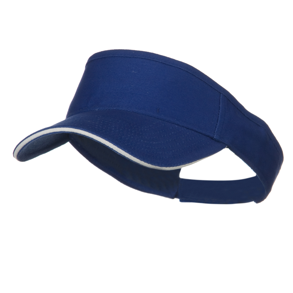 Brushed Bill Denim Sandwich Sun Visor - Royal White - Hats and Caps Online Shop - Hip Head Gear