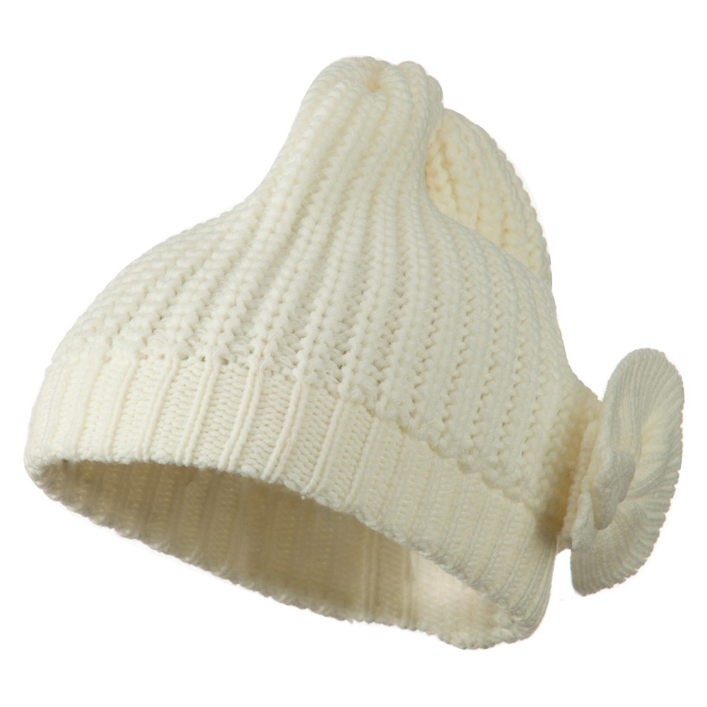 Big Crown Crocheted Bow Beanie - Ivory - Hats and Caps Online Shop - Hip Head Gear