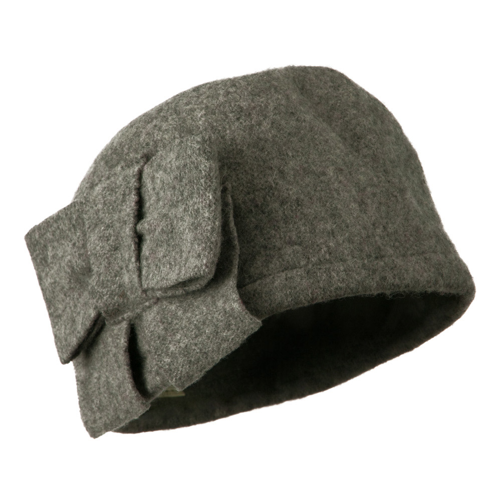 Woman's Bow Accent Boiled Wool Cloche Hat - Grey - Hats and Caps Online Shop - Hip Head Gear