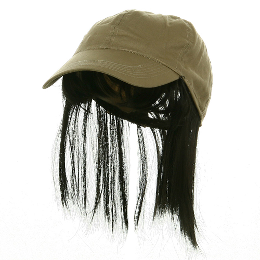 Baseball Cap with Bangs - Tan Black - Hats and Caps Online Shop - Hip Head Gear