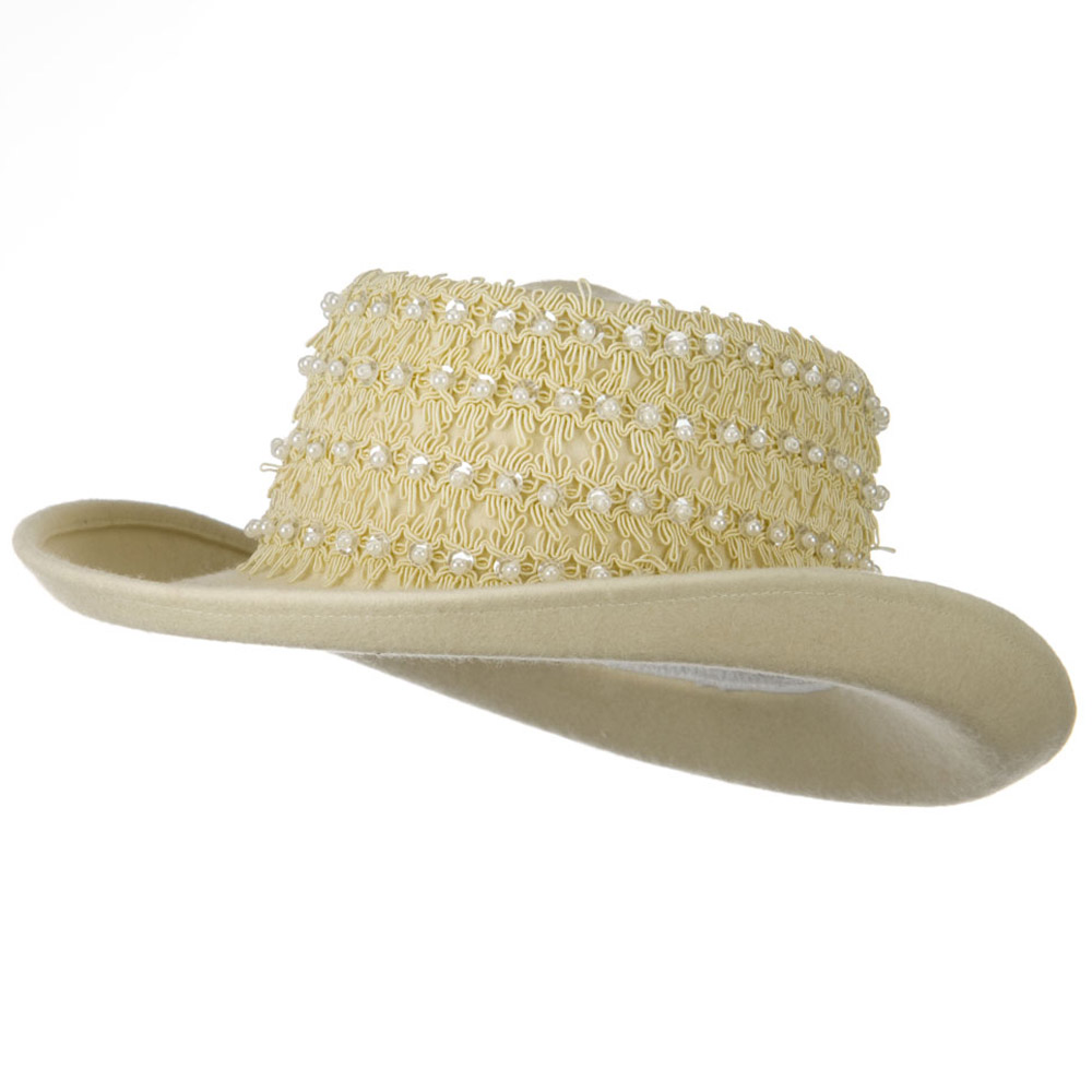 Beads Band Wool Felt Hat - Ivory - Hats and Caps Online Shop - Hip Head Gear