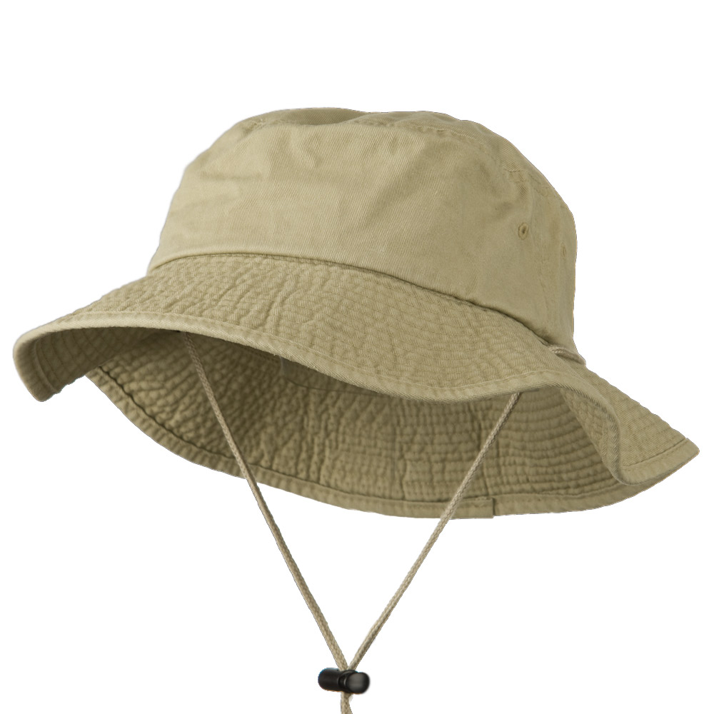 Big Size Washed Bucket Hat with Chin Cord - Khaki - Hats and Caps Online Shop - Hip Head Gear