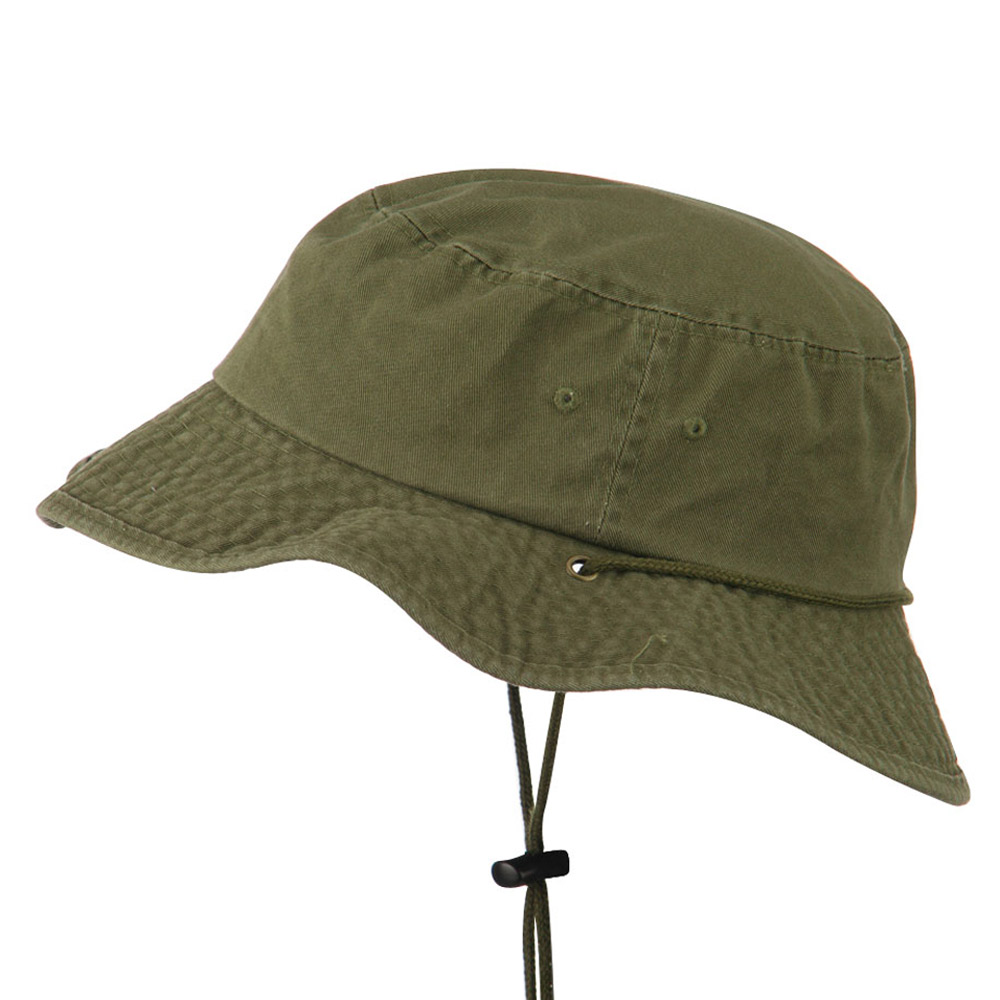 Big Size Washed Bucket Hat with Chin Cord - Olive - Hats and Caps Online Shop - Hip Head Gear
