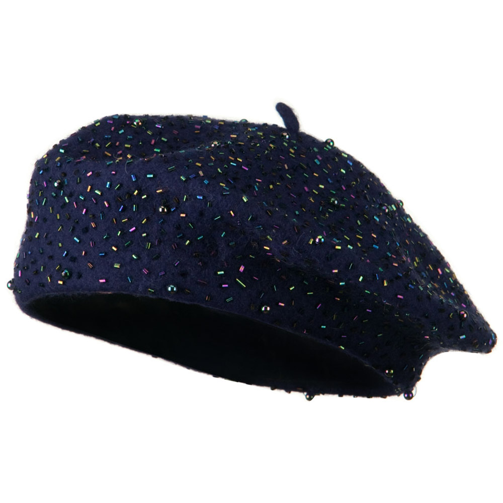 Beads Decoration Wool Beret - Navy - Hats and Caps Online Shop - Hip Head Gear