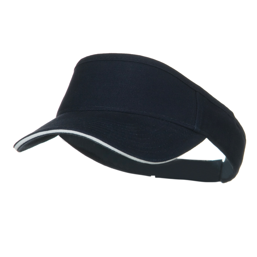 Brushed Bill Denim Sandwich Sun Visor - Navy White - Hats and Caps Online Shop - Hip Head Gear
