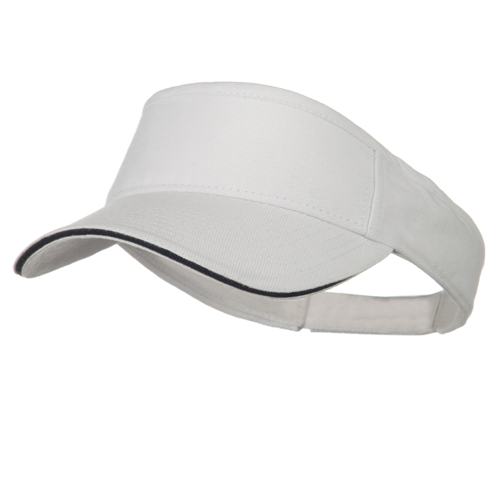 Brushed Bill Denim Sandwich Sun Visor - White Navy - Hats and Caps Online Shop - Hip Head Gear