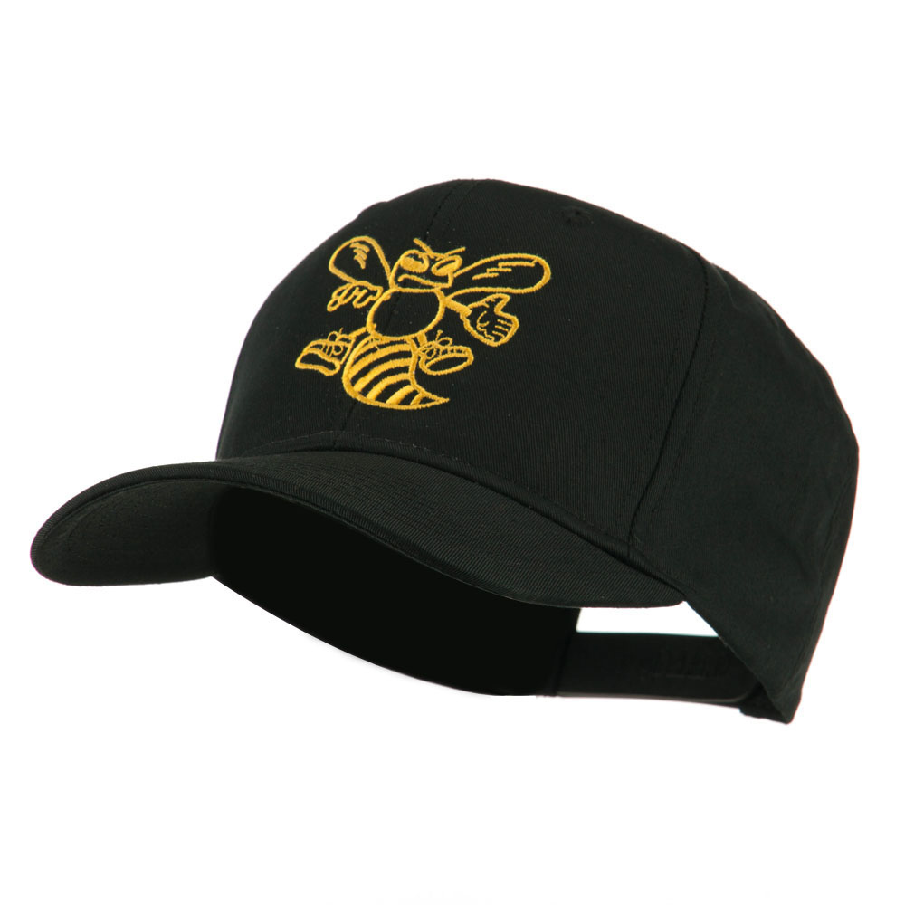 Animal Mascot Bee Outline Embroidered Cap - Black - Hats and Caps Online Shop - Hip Head Gear